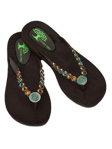Aqua & Amber Crystal Sandals - Summer Indigo