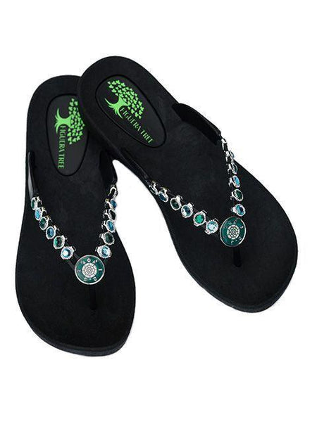 Aqua and Blue Crystal Sandals w/Turtle - Summer Indigo