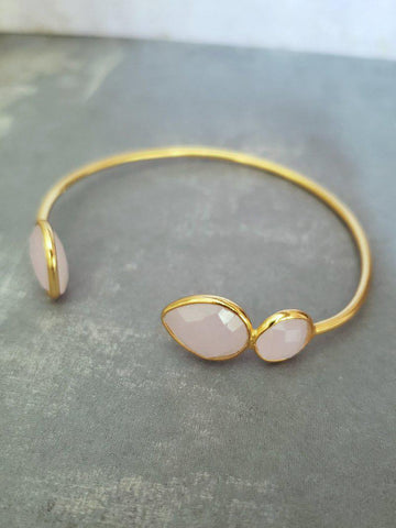 Gemstone Bracelet - Rose Quartz in Gold - Summer Indigo