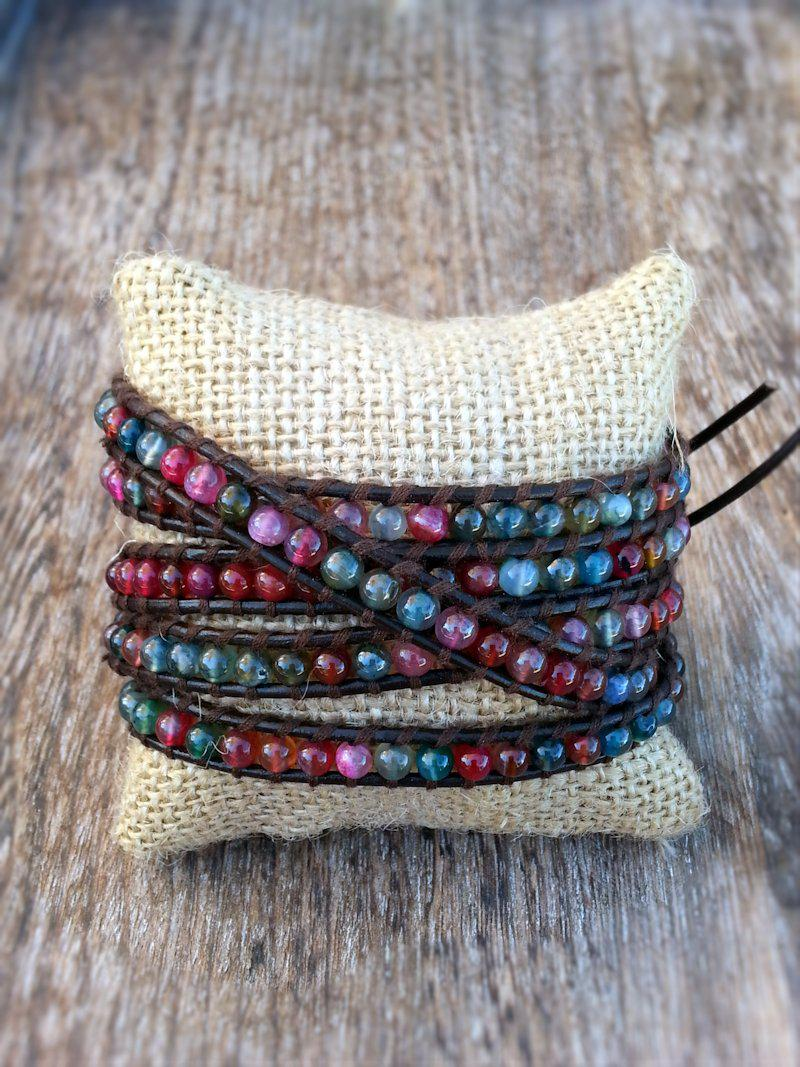Leather & Agate Wrap Bracelets - Multiple options - Summer Indigo