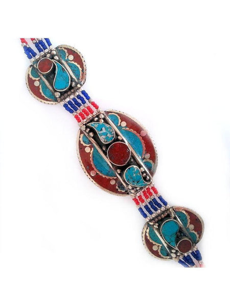 Tibetan Turquoise and Coral Bracelet - Summer Indigo