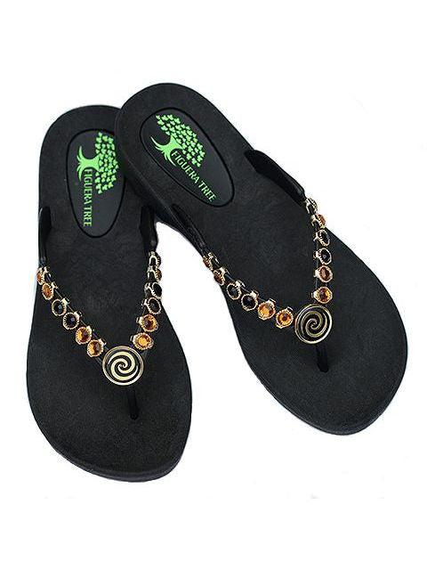 Black & Amber Crystal Sandals w/ Spiral - Summer Indigo