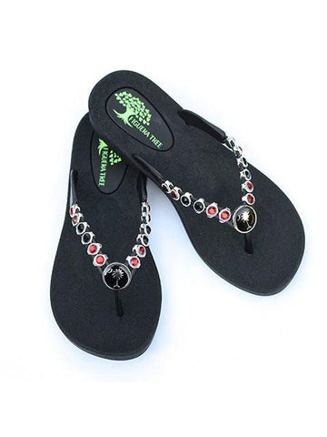 Garnet & Black Crystal Sandals