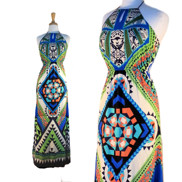 Tribal print maxi dress - multi - Summer Indigo