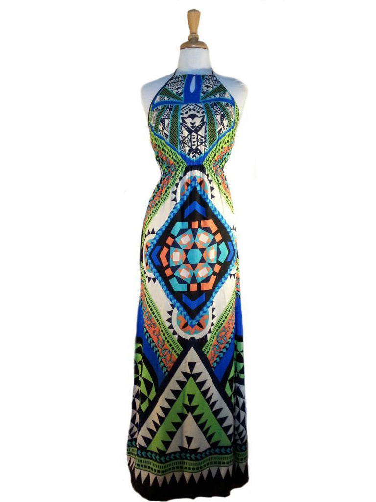 Tribal print maxi dress - multi
