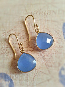 Pear Drop Gemstone Earrings - Chalcedony