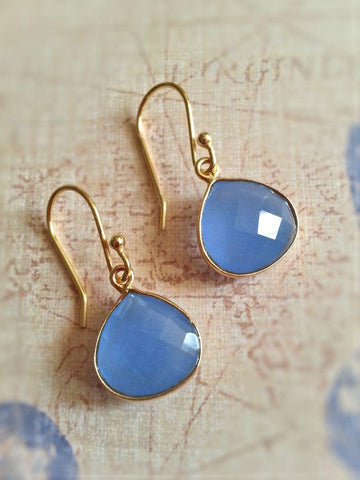 Pear Drop Gemstone Earrings - Chalcedony - Summer Indigo