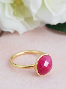 Dainty Ruby Ring - Adjustable