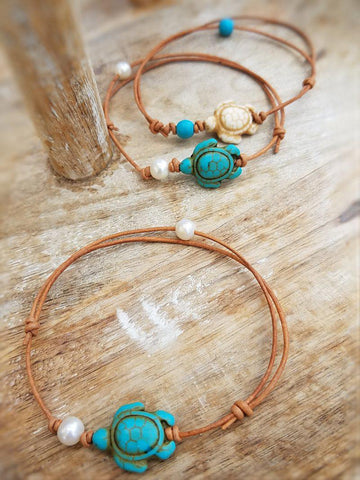 Beachy Turtle Leather Anklets or Bracelets - Summer Indigo