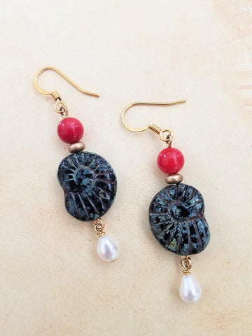 Czech Glass Ammonite and Pearl Earrings - Summer Indigo