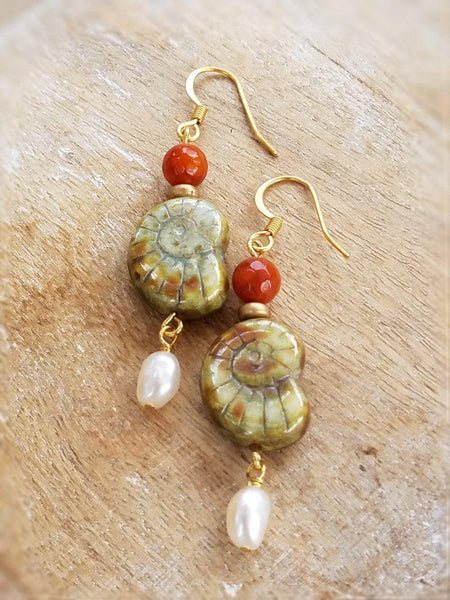 Ammonite and Pearl Earrings-Summer Indigo