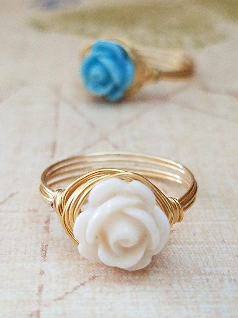 Dainty Rose Flower Ring - Made to order - Summer Indigo