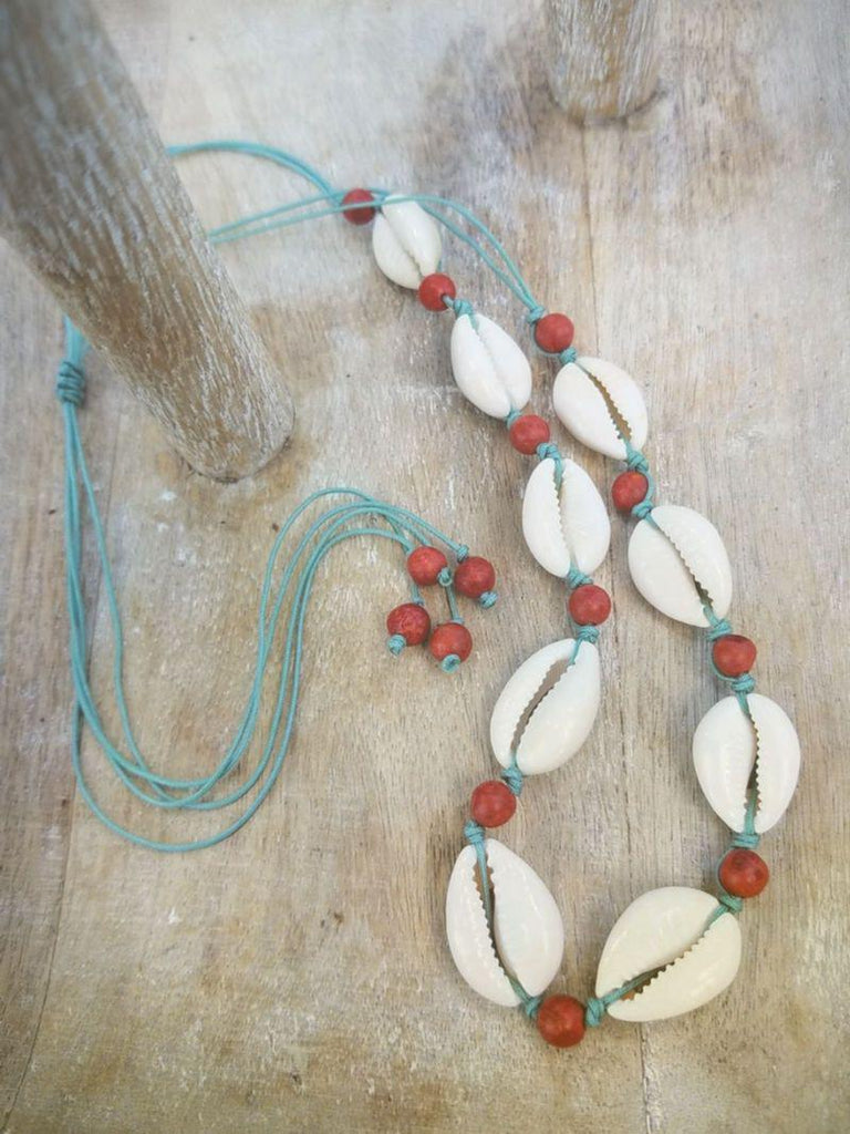 Cowrie Shell Necklace and bracelet - choose your color - Summer Indigo