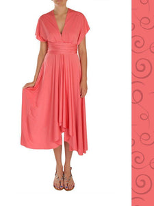 Wrap Dress - Coral - Midi Length - Summer Indigo