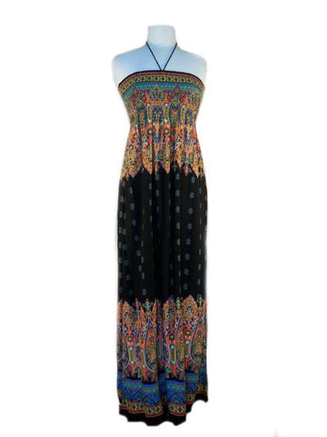 Paisley print maxi dress - black multi