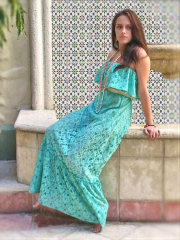 Boho Chic Lace Maxi Dress - Summer Indigo