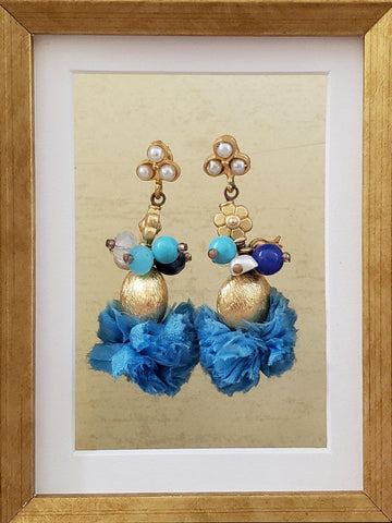 Whimsical Earrings - Blue and Gold - Summer Indigo