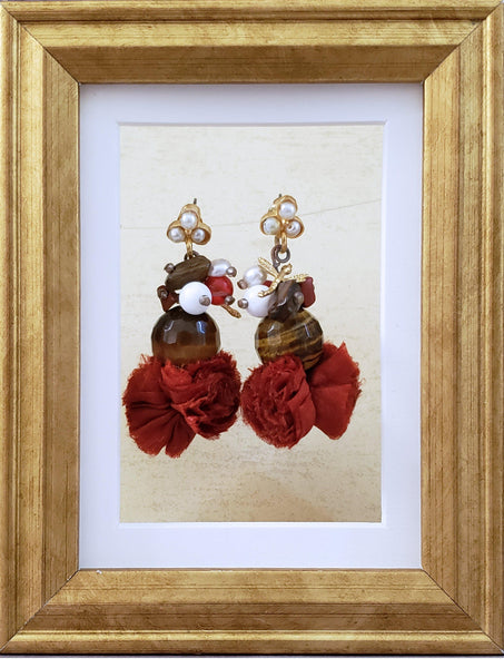 Whimsical Earrings - Tigereye and Pearls - Summer Indigo