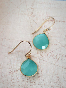 Chalcedony Earrings - Pear Drop in 18K Gold over Silver - Summer Indigo