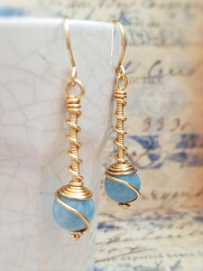 "Semiprecious Stone ""Twist"" Earrings - Summer Indigo"