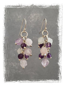 Amethyst, Rose Quartz and Moonstone Earrings