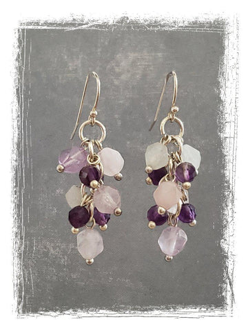 Amethyst, Rose Quartz and Moonstone Earrings - Summer Indigo