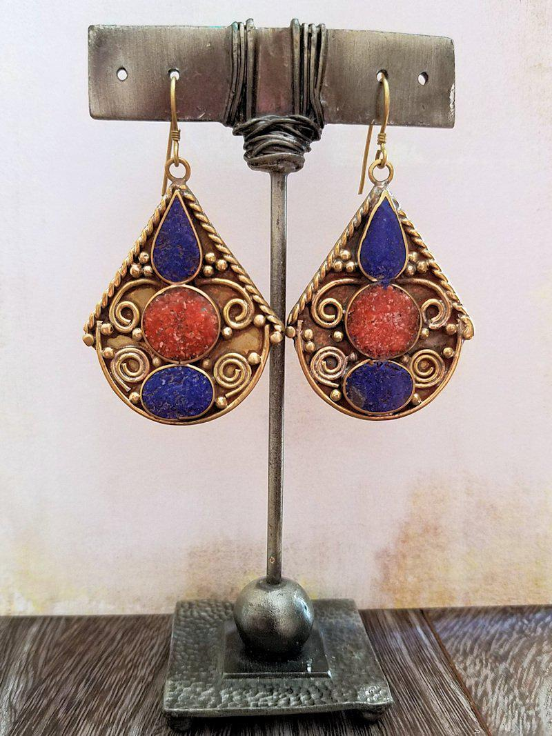 Lapis and Coral Earrings from Tibet - Summer Indigo