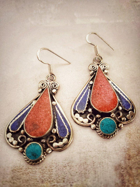 Turquoise and Coral Tribal Earrings - Summer Indigo