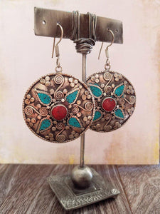 Coral and Turquoise Tibetan Earrings - Summer Indigo