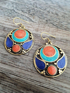 Coral, Lapis and Turquoise Earrings - Summer Indigo