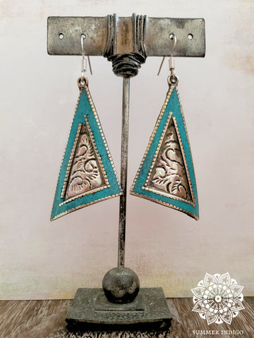 Embossed Turquoise Inlay Earrings - Summer Indigo