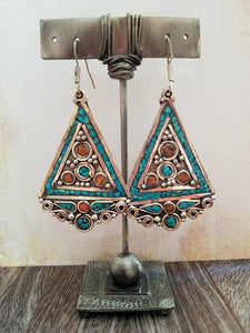 Coral and Turquoise Inlay Earrings from Tibet - Summer Indigo