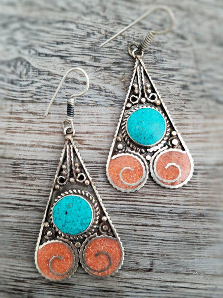 Coral and Turquoise Earrings from Tibet - Summer Indigo