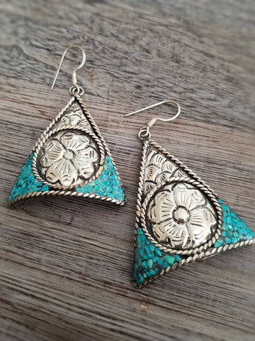 Turquoise and Flower Earrings, Tibetan