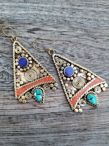 Tribal style Lapis and Coral Earrings from Tibet - Summer Indigo