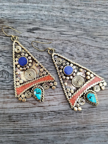 Tribal style Lapis and Coral Earrings from Tibet