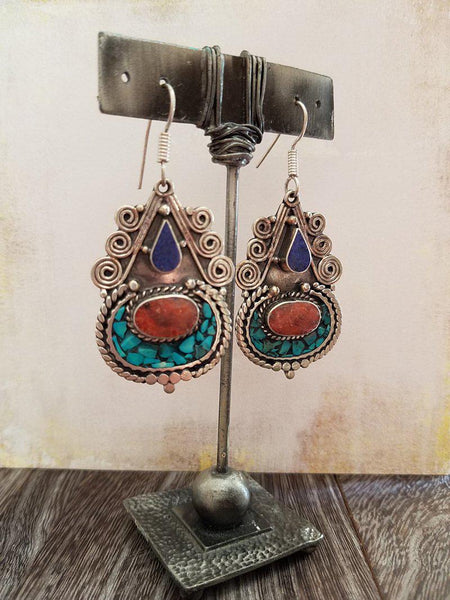 Lapis Coral and Turquoise Inlay Earrings - Summer Indigo