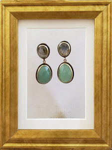 Aventurine and Labradorite Earrings - Oxidized Silver w 18k Gold - Summer Indigo