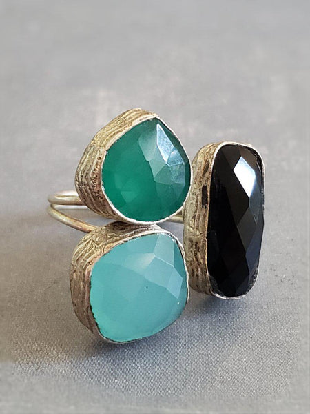 Triple Stone Ring - Onyx and Chalcedony - Summer Indigo