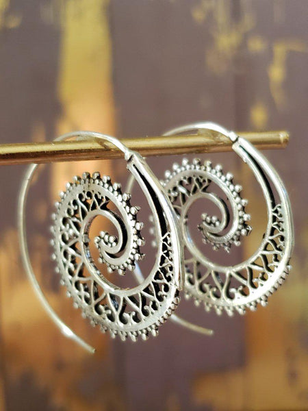 Silver Spiral Hoop Earrings - Summer Indigo