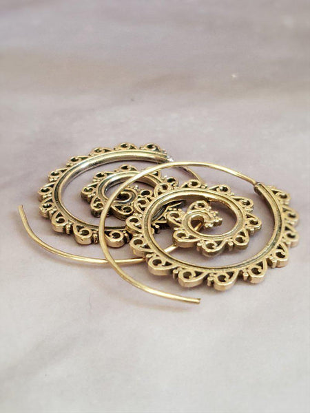 Golden Spiral Hoop Earrings - Summer Indigo