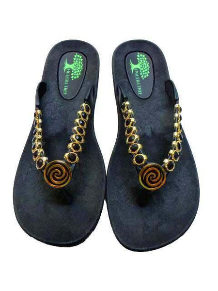 Black & Gold Crystal Sandals - Summer Indigo