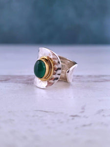 Green Onyx Sterling Silver Ring - Summer Indigo