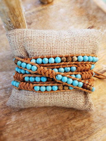 Wrap Bracelet - Magnesite & Jasper on Leather - Summer Indigo