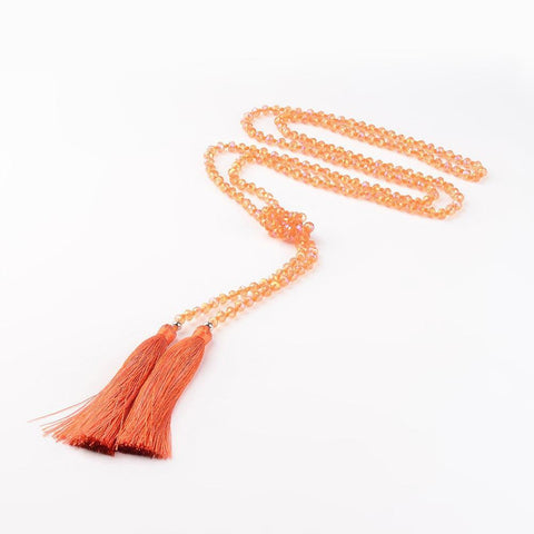Lariat Necklace w. Tassel & Crystals - Summer Indigo