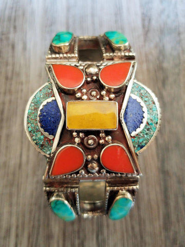 Tribal Style Bracelet, Lapis, Coral, Turquoise and Amber