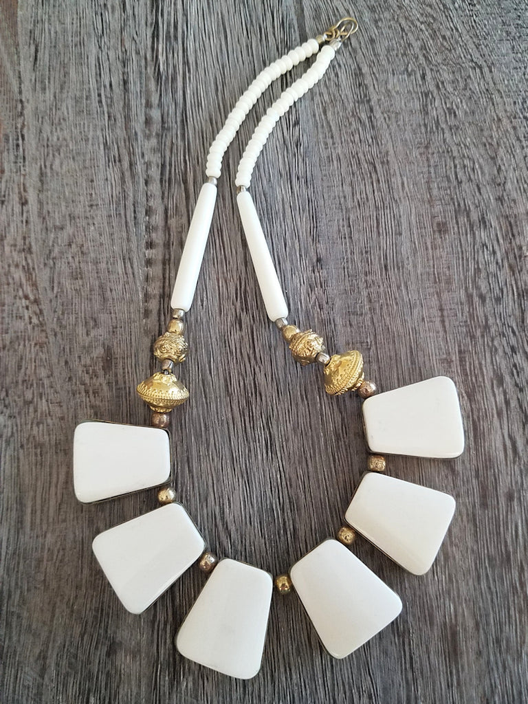 Luxe Bone & Horn Necklace - Summer Indigo