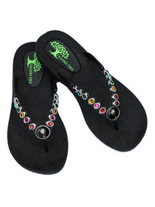 Multi Crystal Sandals in Silver w/ Palm - Summer Indigo