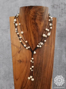 3-Way Leather & Pearl Necklace - Summer Indigo