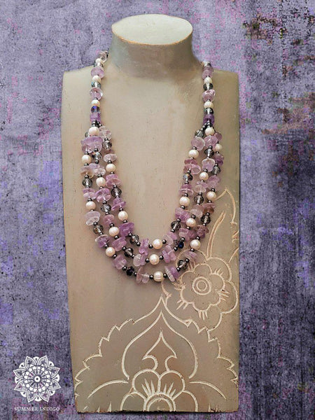 Amethyst Pearl and Hematite Necklace - Summer Indigo